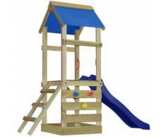 vidaXL Casetta giocattolo in legno con scala e scivolo 260x90x245 cm