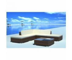 vidaXL Set da seduta da giardino in polirattan marrone 15 pz