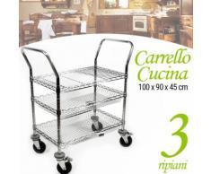 Carrello Cucina 3 Ripiani in Metallo Cromato 4 Ruote 100x90x45cm Salvaspazio - BAKAJI