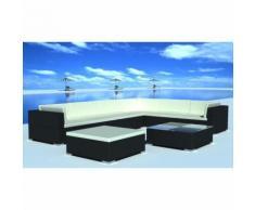 vidaXL Set da seduta da giardino in polirattan nero 24 pz