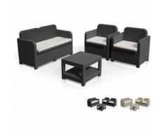 Salotto giardino Grand Soleil SORRENTO Polyrattan tavolino divano poltrone da esterni 4 posti