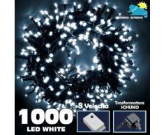 Catena Luminosa 1000 LED Luci Albero Natale Lucciole Bianco Freddo Esterno 24V - BAKAJI