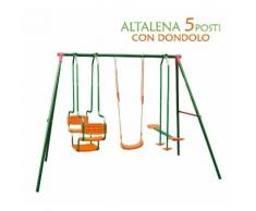 Altalena Da Giardino Per Bambini 5 Posti Con Dondolo Acciaio ABS 156x196x206cm - BAKAJI
