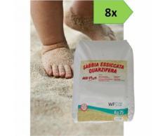 Sabbia gioco bimbi certificata A.C.S. - 8 sacchi da kg. 25 - sabbiera bambini - WUEFFE