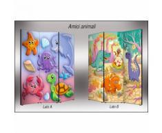 Separé bifacciale artistico su Tela Amici Animali 176x3.2x135.6 cm Vezzani