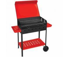 Barbecue a carbonella 60x40xh90cm con ripiani laterali e ruote 518ra