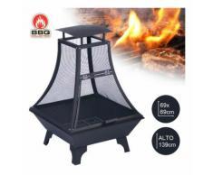 Barbecue Braciere In Accio a Carbone Con Parascintille H.130 cm Grill Carbonella - BBQ COLLECTION