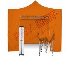 Gazebo Pieghevole 3x3 Arancione RAY BOT + 4 Teli Laterali PVC 350g