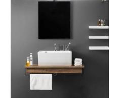 Mensola in legno con lavabo da appoggio Xilon Block 106 cm : Bordo Nessun Bordo Finitura Legno