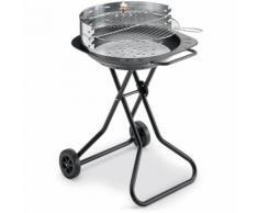 BST BALI 520 - Barbecue rotondo a carbone in acciaio diam. 55 cm con ruote trasportabile e