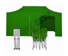 Gazebo Pieghevole 3x6 VERDE RAY BOT + 4 Teli Laterali PVC 350g