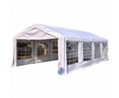 Outsunny Gazebo da esterno in PVC con finestre, bianco, 8x4x2.8m