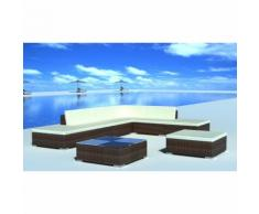vidaXL Set 20 pz seduta da giardino mobile polirattan marrone