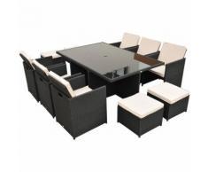 Outsunny Set mobili da giardino in polyrattan 27 pezzi, nero