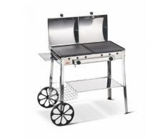 Barbecue A Gas In Acciaio Con Doppia Piastra In Ghisa Ferraboli Stereo Inox