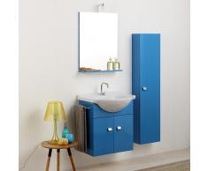 Composizione Bagno Piccoli Spazi Mobiletto 58cm E Colonna 31cm In Blu Luce