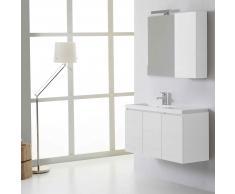 Mobile Bagno Manhattan Da 90 Cm Sinistro Con Ante Specchio Con Pensile Bianco Foresta