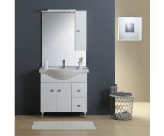 Mobile Bagno 85 Cm A Terra Con Lavabo Specchio E Pensile Bianco