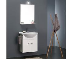 Mobile Bagno Bianco Economico Da 58 Cm + Lavabo, Specchio E Luce