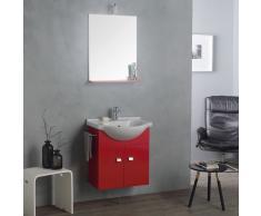 Mobile Lavabo 58 Cm + Specchio E Luce, Rosso Lampone - Bagno Piccolo