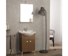 Mobiletto Bagno A Terra Con Lavabo E Specchio 58 Cm Cappuccino Easy