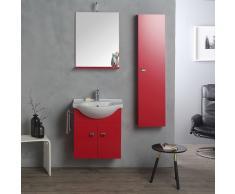 Combinazione Mobile 58cm + Colonna 31 Per Bagno Rosso Lampone
