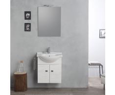 Mobile Sospeso 58cm Con Lavabo, Specchio E Luce Rovere Bianco Serie Facile