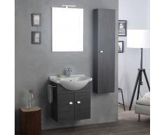 Mobile-lavabo Con Specchio E Luce A Led + Colonna Sospesi Rovere Scuro