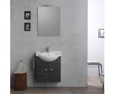Arredo Bagno Con Base E Lavandino, Specchio + Luce Rovere Scuro Sospeso