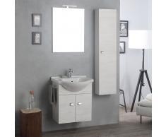 Arredo Bagno Sospeso Con Mobile, Specchio E Colonna Rovere Bianco