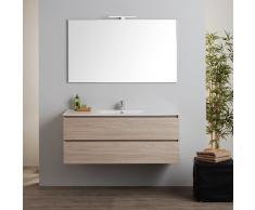 Mobile Bagno Sospeso Con Lavabo Integrato E Specchio 120 Cm Serie Berlin