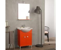Mobile Lavabo 58 Cm A Terra Con Specchio Per Bagno Arancio Easy