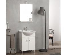 Mobile Bagno A Terra 58 Cm Con Lavabo E Specchio Bianco Serie Easy