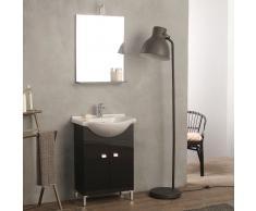 Mobiletto Salvaspazio Grigio Antracite Bagno 58 Cm Con Lavabo E Specchio