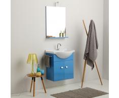 Mobile Bagno Piccoli Spazi Da 58 Cm Lavabo Specchio E Luce In Blu