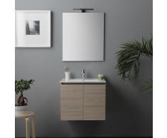 Mobile Bagno Con Ante E Lavabo Ceramico + Luce A Led 60 Cm Olmo Leone