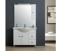 Mobile Bagno 106 Cm Classico Con Lavabo, Specchio E Pensile Bianco Easy