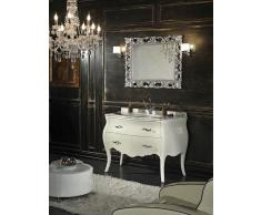 Mobile Bagno Shabby Barocco In Bianco Con Cassetti E Gambe