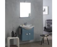 Mobiletto 58 Cm Bermuda + Lavabo In Ceramica, Specchio E Luce Alogena Piccoli Spazi