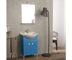 Arredo Bagno A Terra Con Ante 58 Cm Blu Completo Di Lavabo E Specchio