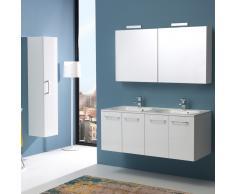 Mobile Bagno Da 120 Cm Quattro Ante Con Doppio Lavabo Boston In Bianco Lucido Specchio Contenitore