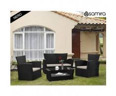 Salotto da giardino in rattan - Set divano, poltrona, tavolino e cuscini mod.Aurora nero