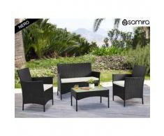 Salotto da giardino in rattan - Set divano, poltrona, tavolino e cuscini mod.Erica nero
