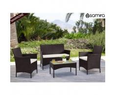 Salotto da giardino in rattan - Set divano, poltrona, tavolino e cuscini mod.Erica marrone