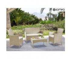 Salotto da giardino in rattan - Set divano, poltrona, tavolino e cuscini mod.Erica tortora