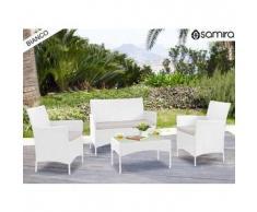 Salotto da giardino in rattan - Set divano, poltrona, tavolino e cuscini mod.Erica bianco