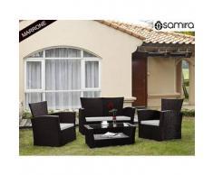 Salotto da giardino in rattan - Set divano, poltrona, tavolino e cuscini mod.Aurora Marrone