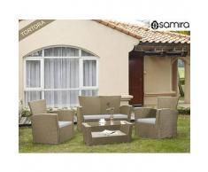 Salotto da giardino in rattan - Set divano, poltrona, tavolino e cuscini mod.Aurora tortora
