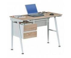 Viking Scrivania per computer portatile VIKING, design di classe con struttura in metallo e ripiano in legno, 2 cassetti, cm 110x50x76