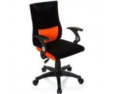 Sedia ergonomica per bambini KENY con braccioli, supporto lombare rimovibile, tessuto nero / arancione